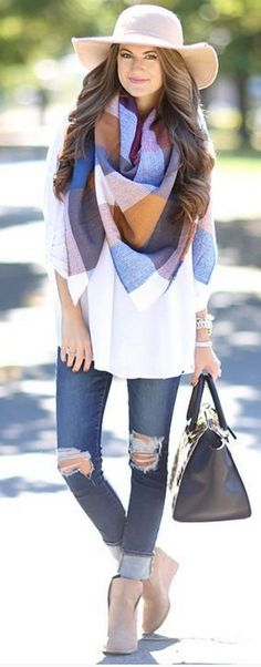 #bestof #instagram #turninghead #spring #outfitideas |Blanket Scarf + Neutrals |Southern Curls & Pearls