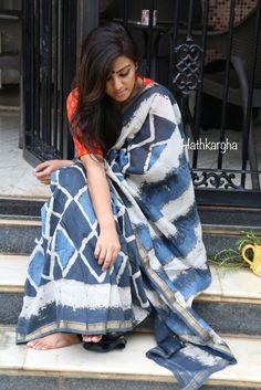 Hathkargha - Exploration of traditional creativity Formal Saree, Casual Saree, Indian Dresses, Indian Outfits, Indigo Saree, Grey Saree, Saree Photoshoot, Stylish Sarees, Traditional Sarees
