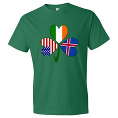 Fun design for St. Patrick's Day, Independence Day and Icelandic holidays. Shows a #shamrock with a flag in each leaf: USA, Ireland and #Iceland. Show your love and pride in all your heritages, ancestries and cultures at once! For travelers, it makes a cool way to show the places you have been. $22.99 http://ink.flagnation.com from your @Auntie Shoe