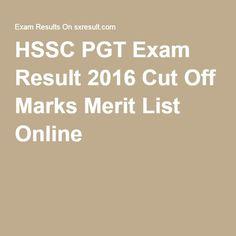 HSSC PGT Exam Result 2016 Cut Off Marks Merit List Online