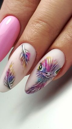 Are you still looking for feather nail art design ideas? I collected 70 beautiful feather nails from the Internet, which can help you with your nail design in Spring Nails, Summer Nails, Ten Nails, Feather Nails, Animal Nail Art, Bird Nail Art, Best Acrylic Nails, Chrome Nails, Nagel Gel