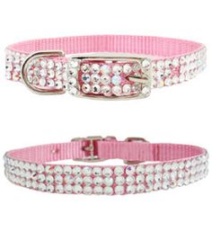 LOL!!  Jeweled Dog Collars Swarovski Crystals Pink Chiffon Fancy Pet Collar (More Colors!)
