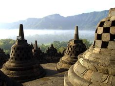 #198. Borobudur Temple. Central Java, Indonesia. Sailendra Dynasty. c. 750-842 CE. Volcanic-stone masonry. UNESCO
