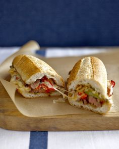 Steak Sandwich with Peppers: Broiled skirt steak is combined with sauteed bell peppers, onion, and a splash of red-wine vinegar in these stick-to-your-ribs sandwiches. Crown the steak filling with pepper Jack cheese and melt it under the broiler.