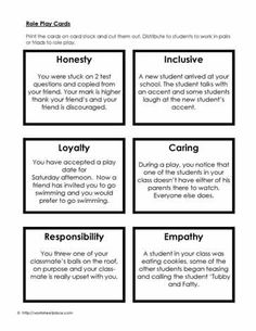 Social Skills Role Play Cards Worksheets