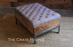Vintage European Grain Sack Button Tufted ottoman by TheCratePeople