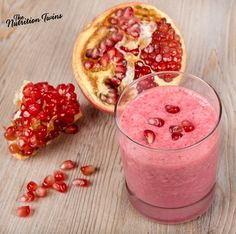 Pomegranate Banana Protein Smoothie | Delicious! | Just 168 Calories | Perfect with Breakfast or for a Snack! | For MORE RECIPES please SIGN UP for our FREE NEWSLETTER www.NutritionTwins.com