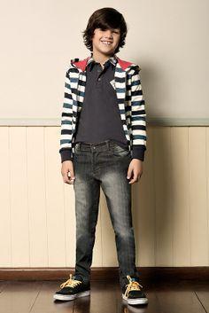 M2A Jeans | Fall Winter 2014 | Kids Collection | Outono Inverno 2014 | Coleção Infantil | peças | blusa listrada infantil; camisa polo infantil; calça jeans infantil; jeans; denim.