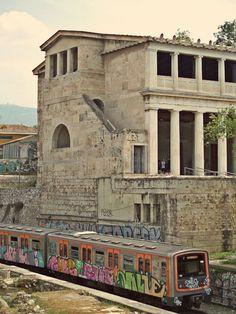 The green line train passes through the Ancient Agora and exactly by the Stoa of Attalos. (Walking Athens, Route 03 - Psiri / Monastiraki)