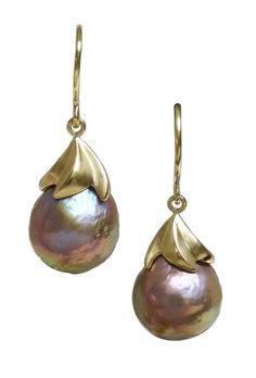 Gold and pearl earrings by artist Whitney Robinson Pearl Drop Earrings, Pearl Beads, Pearl Jewelry, Cap Ideas, Bead Caps, Business Women, Jewels, Fresh, Jewellery