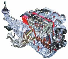 Another stunning drawing of 2000 Honda S2000 Roadster engine. Illustration at its finest! You can even see some internal parts here