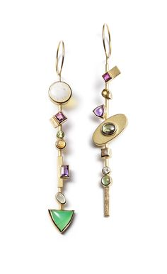 EARRINGS - EARRINGS 18KT, RUBY, YELLOW TORMALINE, AMETHYST, ZIRCON, IND. DIAMOND, PERIDOT, TOURMALINE,OPAL, GARNET, CITRINE, AQUAMARINE, CRYSOPRASE, DIAMOND