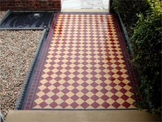 tile pathway with red tiles Front Path, Front Walkway, Front Steps, Victorian Tiles, Victorian Terrace, Victorian Flooring, Victorian Houses, Light Purple Flowers, Small Flowers
