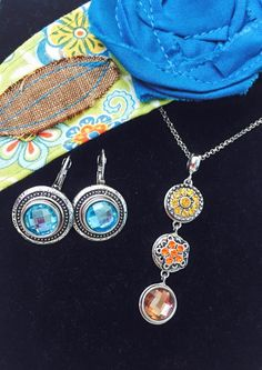 Celebration Earrings with Aquamarine Solitaire Dots, Classic Waterfall Necklace with Yellow Radiance, Orange Poppy, and Topaz Solitaire Dots from Style Dots! Style with me at https://suzanne.styledotshome.com