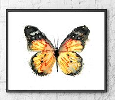 Butterfly print, watercolor butterfly, watercolor print, butterflies decor, black yellow, fine art, painting watercolor, art print - F227