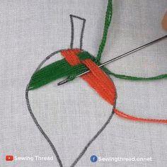 Embroidery Leaf, Hand Embroidery Videos, Flower Embroidery Designs, Cross Stitch Embroidery, Flower Designs, Macrame Patterns, Fashion Sewing, Stitch Design, Diy Crochet