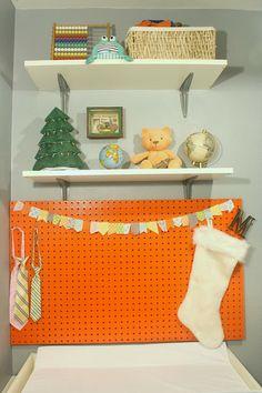 Orange Pegboard memory board.