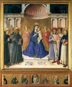 Bosco ai Frati Altarpiece - Fra Angelico.  c.1450.  Tempera and gold on panel.  174 x 173 cm (main panel), 28 x 174 cm (predella).  Museo di San Marco, Florence, Italy.