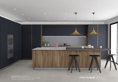 Love the mood created here - Minosa Design: Striking Kitchen Design with rich wood & Copper