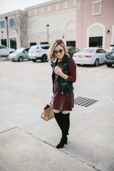 Striped Dress   OTK boots   Maternity Outfit   Uptown with Elly Brown