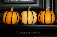 Fake Pumpkins, Rick Rack + Hot Glue Gun - Simple and Frugal!