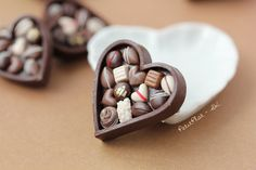 Chocolate Pralines in a Heart Brooch  Valentine's Day by PetitPlat, wearable food art, made in France