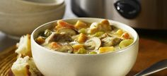 Slow Cooker Country Chicken Stew - I just put everything in the crockpot. No point in using one if you have to cook everything first. It turned out perfect. Casserole Recipes, Soup Recipes, Turkey Recipes, Recipies, Slow Cooker Recipes, Cooking Recipes, Healthy Recipes, Campbells Recipes, Country Chicken