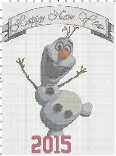 Frozen _ Olaf Happy New Year 2015 Gift Snowman by allcraftlover Disney Happy New Year, Happy New Year 2015, Counted Cross Stitch Patterns, Cross Stitch Embroidery, Frozen Cross Stitch, Frozen Cards, Loom Crochet, Disney Frozen, Walt Disney