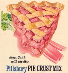 Whip up a Rhubarb Pie with Pillsbury Pie Crust Mix. #vintage #food #summer