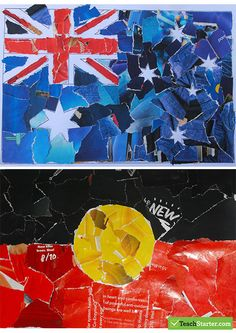 Australian and Aboriginal Flag Collage Art Activity Teaching Resource Teaching Resource: A creative art activity to use when learning about the Australia Day celebration. Aboriginal Art For Kids, Aboriginal Flag, Aboriginal Education, Aboriginal Culture, Indigenous Education, Aboriginal History, Aboriginal People, Art Education, Australia Map