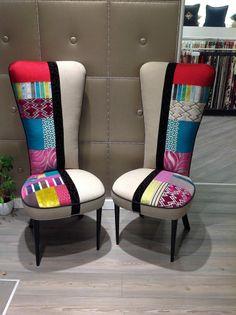 Colore è libertà , fantasia e creatività ... Sedia con Spalliera alta mod. Mademoiselle.. www.blancotappezzeria.it