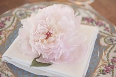 One Blush Peony added a romantic touch to this place-setting {Susan Beard Photography}