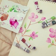 Very first trial on watercolor almost a year ago. I had no brush, so i played with cotton balls. It was totally fun!