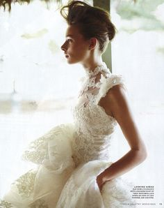 Marchesa high neck mermaid wedding gown from the fall 2012 collection in the latest issue of Town Country Weddings More bridal dresses from this collection at weddinginspirasi. Bridal Looks, Bridal Style, Bridal Dresses, Wedding Gowns, Lace Wedding, Bridal Gown, Bridal Hair, Bridal Beauty, Garden Wedding