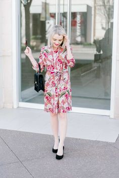 Springtime Office Outfit Inspiration - Floral Dress - Poor Little It Girl