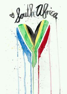South Africa is and always will be my home. Africa remains in your blood wherever you are in the world. There is nothing in the world my satisfying than placing my feet on South African soil and feeling the sun on my face. African Art Projects, Africa Flag, Africa Art, South African Flag, South Afrika, Le Cap, Watercolor Heart, Flag Art, My Land