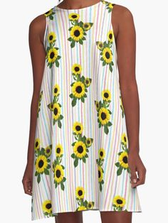 'Sunflowers and Stripes Pattern' A-Line Dress by Sunflowers, Chiffon Tops, Classic T Shirts, Stripes, Shirt Dress, Pattern, Dresses, Fashion, Vestidos