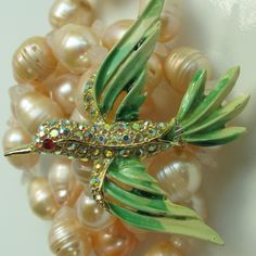 1960s-70s Shimmering Hummingbird Brooch w/ AB Stones from Beak Chic.