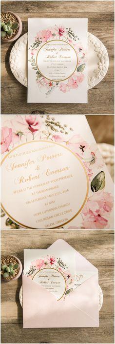 chic vintage pink floral foiled wedding invitations