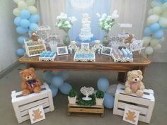 Boy Baby Shower Themes, Baby Shower Cakes, Baby Boy Shower, Boy Decor, Baby Room Decor, Baby Storage, Teddy Bear Baby Shower, Baptism Party, Bernardo