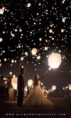 12 Magic Photos With Sky Lanterns For Your Wedding Album Magic Photos With Sky Lanterns For Your Wedding Album ❤︎ Wedding planning ideas & inspiration. Wedding dresses, decor, and lots more. Celestial Wedding, Magical Wedding, Perfect Wedding, Dream Wedding, Wedding Hair, Wedding Bands, Tangled Wedding, Diy Wedding, Sky Lanterns Wedding