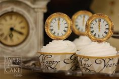 Happy New Year, 1700s Paris Inspired New Years Eve Printable Cupcake Topper And Wrapper Set, via Etsy.