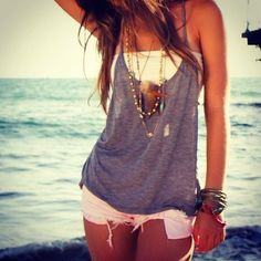 Bandeau, loose tank, shorts, layered necklaces & bracelets. Cute, summer, casual.