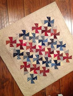 Finished shop sample table topper by myreddoordesigns Flag Quilt, Pinwheel Quilt, Patriotic Quilts, Star Quilts, Mini Quilts, Twister Quilts, American Quilt, Quilt Of Valor, Miniature Quilts