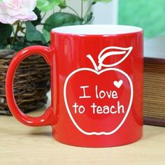 Buy this Red Teaching Ceramic Coffee Mug that is molded with a vibrant red color and a bright white inferior finish and features an extra wide grip handle for comfort and ease while enjoying your favorite beverage. Makes a great Gift for a Teacher, their love for teaching won't go unnoticed with a mug like this.  Mug is available on our Two-Toned Red and White Ceramic Coffee Mug, which holds 11 fluid ounces. Dishwasher and Microwave safe. Ships in 3-4 Days.