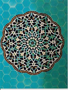 Arabesque tile mosaic at the Jāmeh Mosque of Yazd, Iran, c; Islamic Art Pattern, Arabic Pattern, Pattern Art, Art Et Architecture, Islamic Architecture, Beautiful Architecture, Doodle Inspiration, Tile Art, Mosaic Tiles