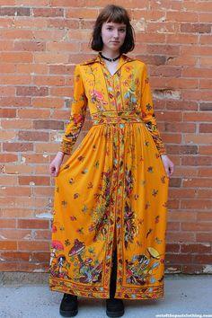 Mod •~• vintage mushroom-print maxi dress