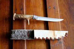 Handmade+Deer+Antler+Knife+with+Beaver+Skin+Sheath+by+ReelMan,+$100.00
