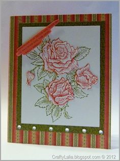 Love everything about this card except the sentiment. Great use of the rose stamps! Jan 2013 sotm blog hop CTMH