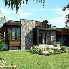 This lovely Contemporary style home with Bungalow influences (House Plan has 1277 square feet of living space. The 1 story floor plan includes 2 bedrooms. Modern House Plans, Modern House Design, Modern Exterior, Exterior Design, Style At Home, Chalet Modern, House Plans One Story, Contemporary Style Homes, Small Contemporary House Plans